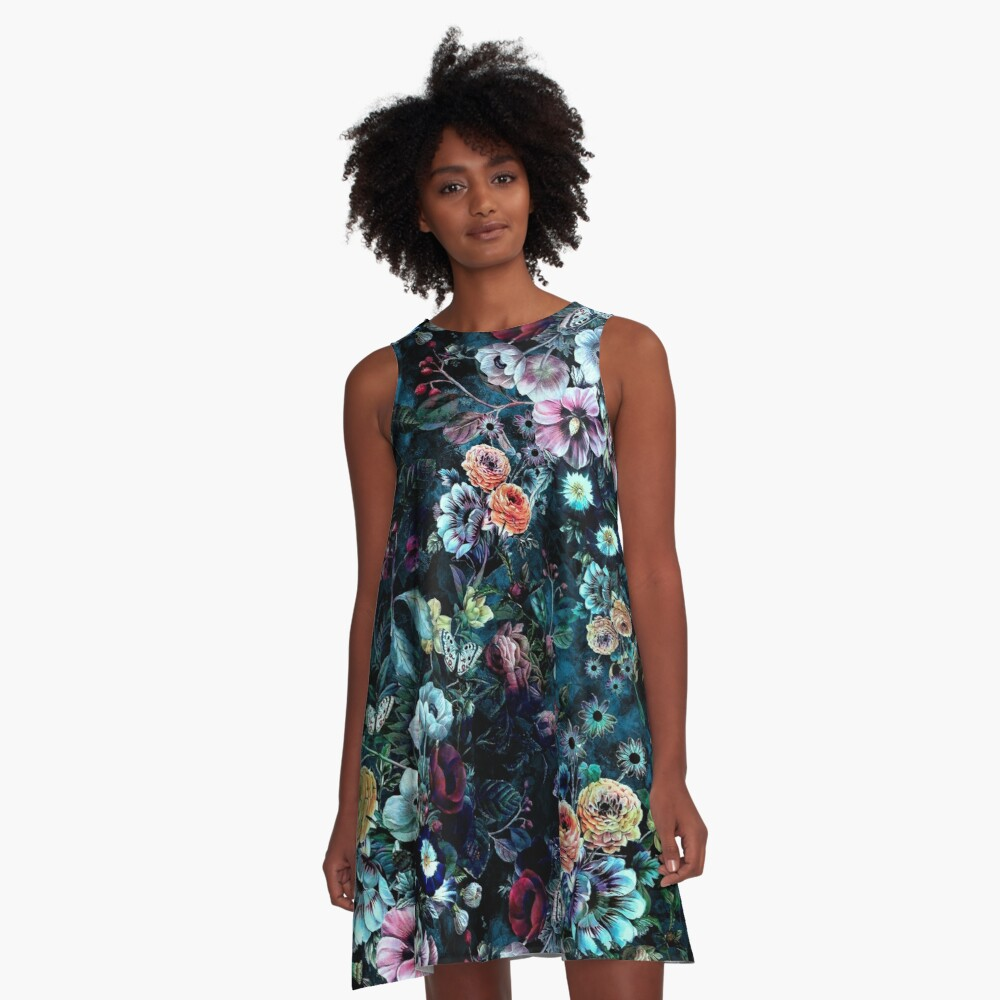 Night Garden A-Line Dress