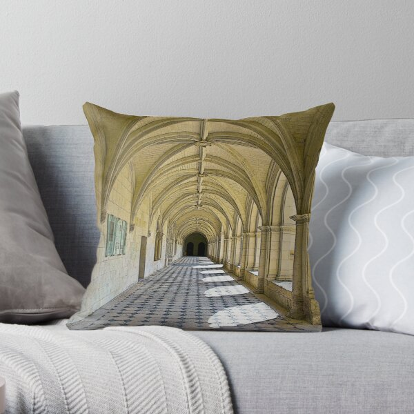 Fontevraud Abbey Colonnade Throw Pillow