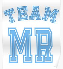 Team Mr Boy Blue Mom Baby Shower Gender Reveal Party Cute Funny Gift Poster