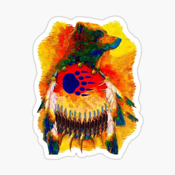 Bear Warrior Native American T-shirt Sticker