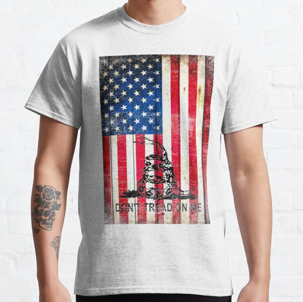 Viper On American Flag On Old Wood Planks Vertical Classic T-Shirt