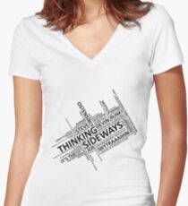Thinking Sideways Catchphrases Women's Fitted V-Neck T-Shirt