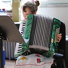 Small Girl Big Accordion by Sandra Fortier