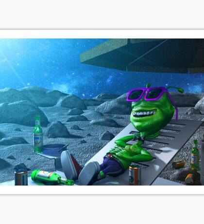 Alien Taking a rest in the Moon Sticker