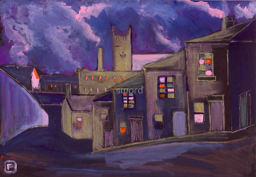 Northern market town (from my original painting) by sword