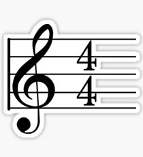 4/4 Common Time Music + Treble Clef Sticker