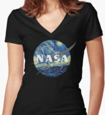 Nasa Logo Van Gogh  Women's Fitted V-Neck T-Shirt