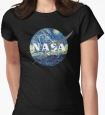 Nasa Logo Van Gogh  Women's Fitted T-Shirt