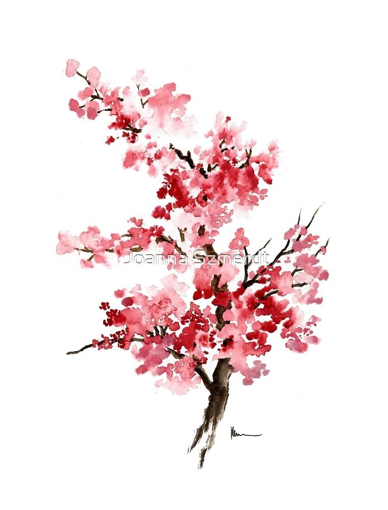 Cherry blossom branch art print watercolor painting, sakura ...