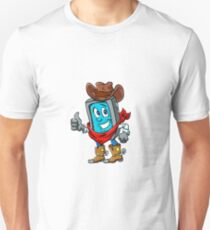 Smartphone cowboy cartoon, Unisex T-Shirt
