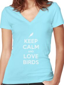 Keep Calm And Love Birds Women's Fitted V-Neck T-Shirt