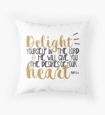 Psalm 37:4 Bible Verse Typographic Cute Hand Writing Throw Pillow