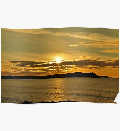 November Sunset Polzeath Cornwall  Poster