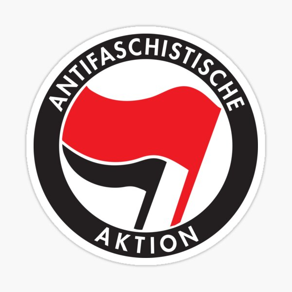 Bandera anarco-comunista de Antifa Antifaschistische Aktion Pegatina