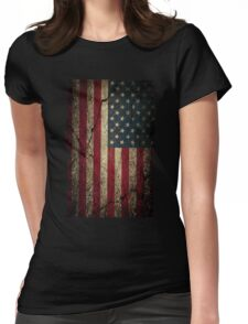 American Flag Ripped Grunge  Womens Fitted T-Shirt