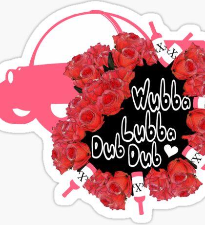 Wubba Lubba Dub Dub pink and in pain Sticker