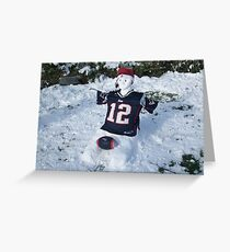 A NEW ENGLAND Patriot Snowman  Greeting Card