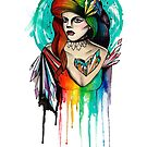 Watercolor Rainbow Hair Woman by graphicward