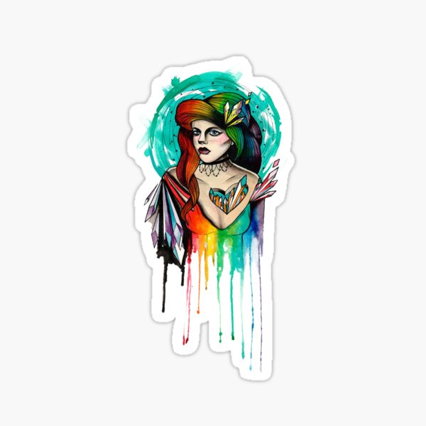 Watercolor Rainbow Hair Woman Sticker