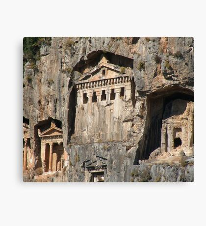 Lycian Tombs Cut From Rock Circa 400 BC Canvas Print