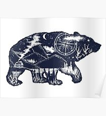 Bear double exposure Poster
