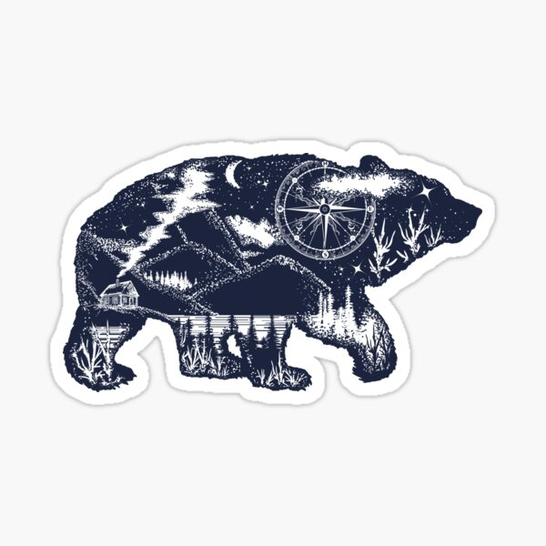 Bear double exposure Sticker