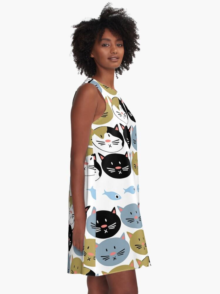Alternate view of Cat Lady Pattern A-Line Dress