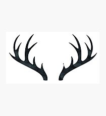 Antlers - Rustic Decor Black and White Deer Antlers Photographic Print