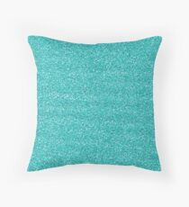 Turquoise Glitter - Glittery Turquoise Teal Blue Green Glitter Throw Pillow