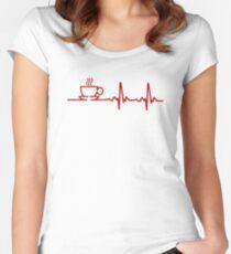 Morning Coffee Heartbeat EKG Women's Fitted Scoop T-Shirt