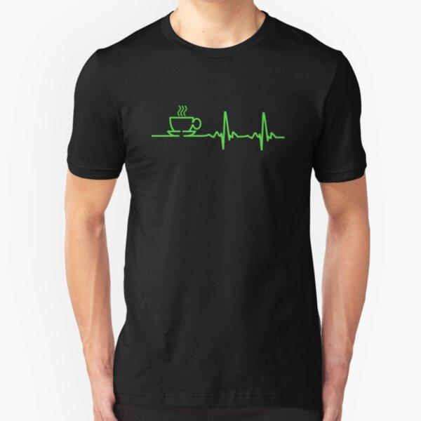Morning Coffee Heartbeat EKG Slim Fit T-Shirt