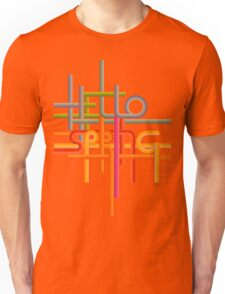 phrase Hello Spring made with stripes in disco style Unisex T-Shirt