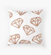 Rose gold gemstone pattern Throw Pillow
