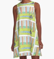Cute Long Necked Turtle Illustration A-Line Dress