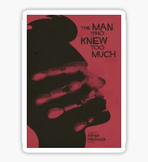 "Alfred Hitchock, movie poster, ""The man who knew too much"", Doris Day, James Stewart, classic film, old movie, playbill, affiche, Sticker"