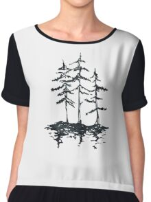 THE THREE SISTERS - Trees in Black and White Rustic Vintage Forest Adventure Art Chiffon Top