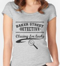 Baker Street Detective (Black) Women's Fitted Scoop T-Shirt