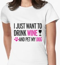 drink, wine, pet, dog Women's Fitted T-Shirt