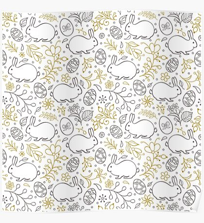 pattern with flowers,bunnies, and easter eggs  Poster