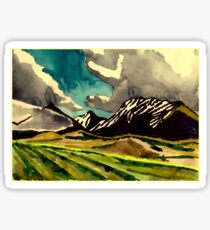 Fields and mountains and a sky Sticker