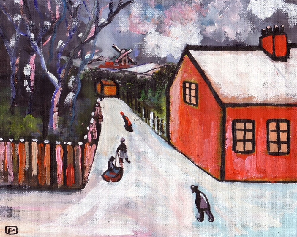 Dutch village winter scene (from my original painting) by sword