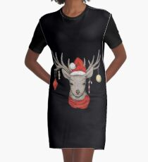 Christmas Deer Graphic T-Shirt Dress