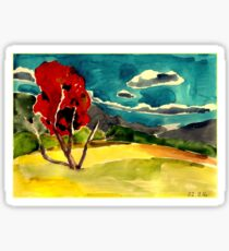 autumn landscape with red tree Sticker