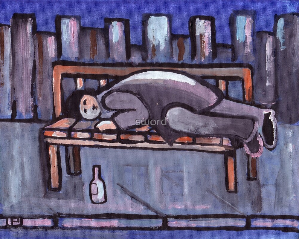 Down and out (from my original acrylic painting) by sword