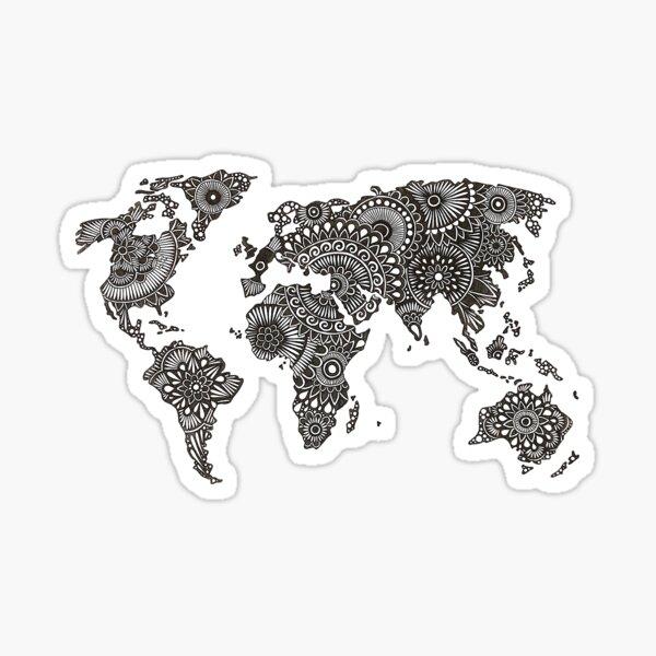 Henna World Map  Sticker