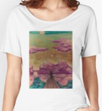 Happy sky silhouette girl Women's Relaxed Fit T-Shirt