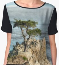 Lone Cypress Watercolor Women's Chiffon Top