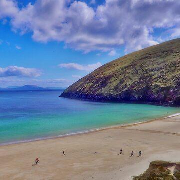 Walkers On Keem Beach, Achill Island Feted By The Green Atlantic Ocean. by paulmcnam