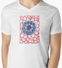 Centered Blue Blossom   Mens V-Neck T-Shirt