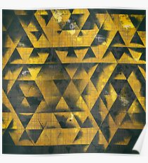 Abstract Triangles Background Urban Yellow Poster